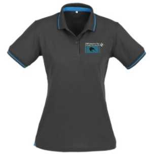 BMW Motorcycle Club Ladies Polo Steel Grey/Cyan Blue