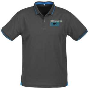 BMW Motorcycle Club Men's Polo Steel Grey/Cyan